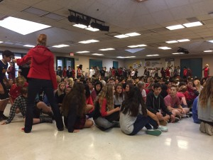 Red Ribbon Week 8th Graders watching Overtaken and listening to Aisha Armer and Jodi Barber